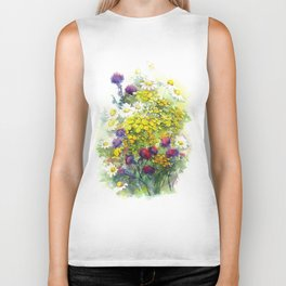 Watercolor meadow flowers Biker Tank