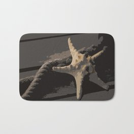 Starfish and boat rope on the pier - dark background - #Society6 - #buyart Bath Mat