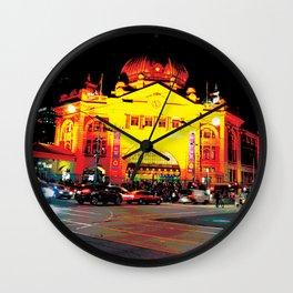 Flinders Street Station at night Wall Clock