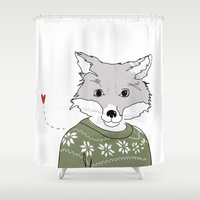 furry Shower Curtains featuring Furry Fox by Christina Heitmann