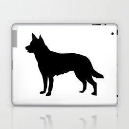 Australian Kelpie dog silhouette dog breed pattern black and white kelpie dog Laptop & iPad Skin