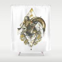 ram Shower Curtains featuring ram by rosanna corfe