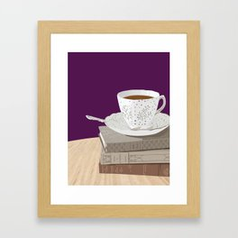 Teacup and Jane Austen Books Framed Art Print