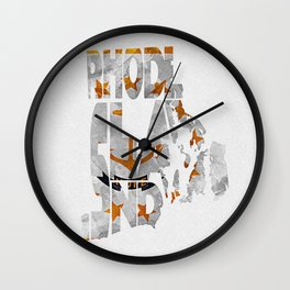 Rhode Island Typographic Flag Map Art Wall Clock