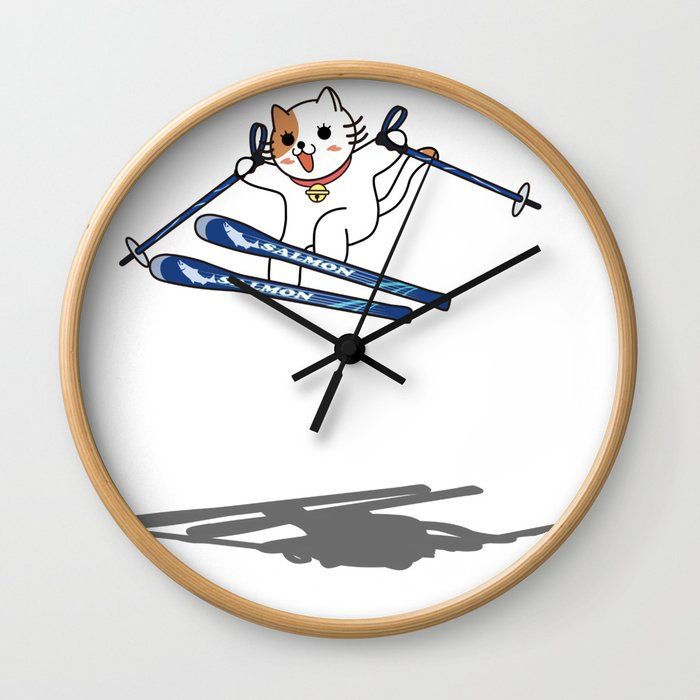 SKIER of CAT Wall Clock