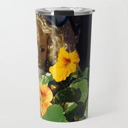 Doll and Flowers Travel Mug