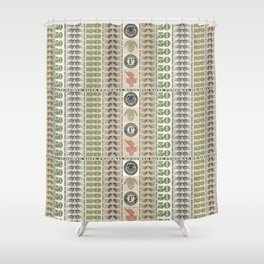 Collage of Currency Graphic Shower Curtain