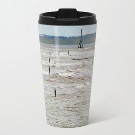 Gormley Statues on the beach (Digital Art) Travel Mug