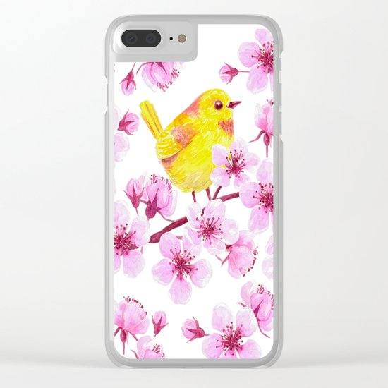 Cherry blossom and yellow bird Clear iPhone Case