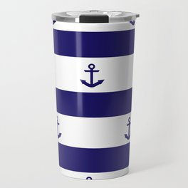 Navy Blue Stripes and Anchors 2 Travel Mug