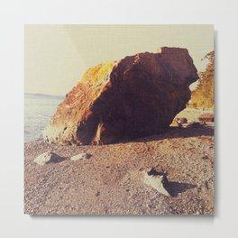 Lopez Island beach boulder Metal Print