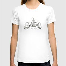 Camper Bear and Rabbit with bonfire T-shirt