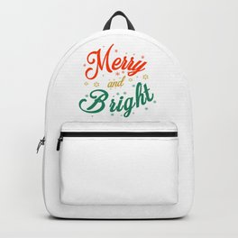 Merry and Bright Christmas Snowflakes Typography Backpack