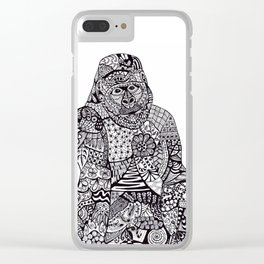 Gorilla Zentangle Art Clear iPhone Case