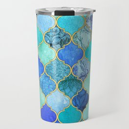 Cobalt Blue, Aqua & Gold Decorative Moroccan Tile Pattern Travel Mug