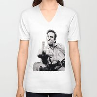 springsteen V-neck T-shirts featuring Johnny Springstien by celesteolds