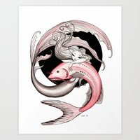 swimming Art Prints featuring Swimming by Steak and Unicorns