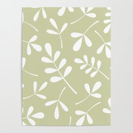 Assorted Leaf Silhouettes White on Lime Poster