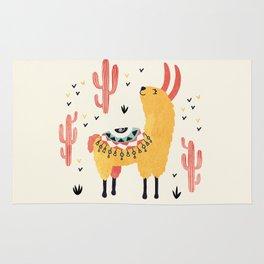 Yellow Llama Red Cacti Rug