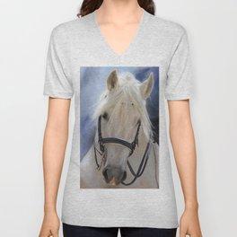 Painted White Horse head Unisex V-Neck