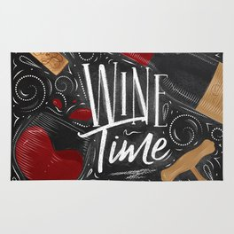 Wine time black Rug