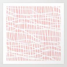 Net White on Blush Art Print