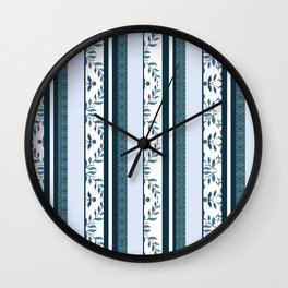zakiaz navy & white french stripe Wall Clock