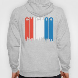 Red White And Blue Chicago Illinois Skyline Hoody