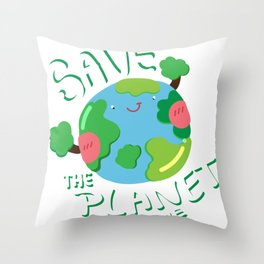 Save The Planet For Me Earth Day Throw Pillow