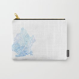 Typographic Brooklyn - Blue Watercolor map art Carry-All Pouch