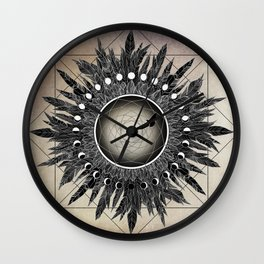 Crow Twilight Dreamcatcher Wall Clock