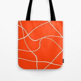 """Abstract lines"" - White on orange Tote Bag"