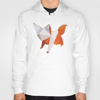 origami Hoodies featuring Origami Fox by dellydel
