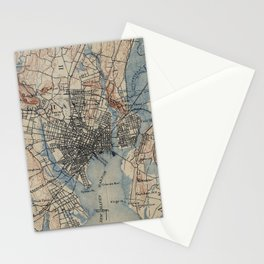Vintage Map of New Haven Connecticut (1890) Stationery Cards