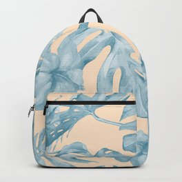 Tropical Leaves Sky Blue on Mango Coral Backpack