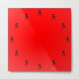 Black Five o'Clock Somewhere on Red Metal Print