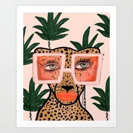 Tropical Glam Cat Art Print