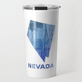 Nevada map outline Steel blue clouded wash drawing paper Travel Mug