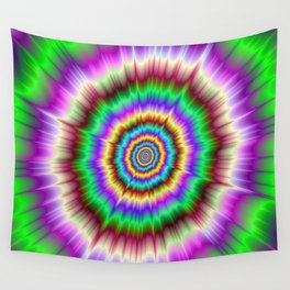 Color Explosion in Violet and Green Wall Tapestry