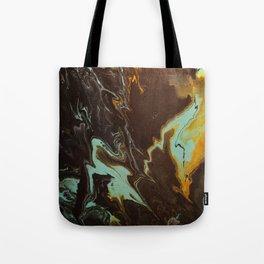 Fluid Art Acrylic Painting, Pour 3 - Black, Orange & Turquoise Blended Color Tote Bag