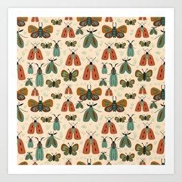 Minty butterflies Art Print