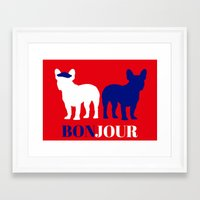 bonjour Framed Art Prints featuring Bonjour by Laura Maria Designs