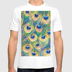 Peacock Freathers MEDIUM White Mens Fitted Tee