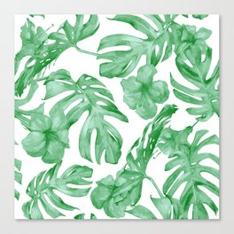 Tropical Island Leaves Green on White Canvas Print