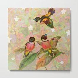 Vintage Birds on Leafy Background Metal Print