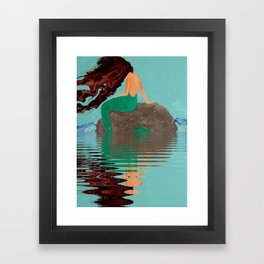 Mermaid Acrylic Fluid Painting Digitally Enhanced Water Framed Art Print