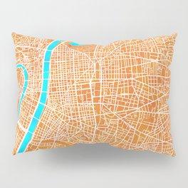 Lyon, France, Gold, Blue, City, Map Pillow Sham