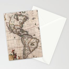 Vintage Map of North and South America (1658) Stationery Cards