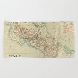 Vintage Map of Costa Rica (1903) Beach Towel