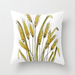 Golden wheat painting Throw Pillow